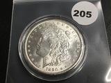 1890 Morgan silver dollar Unc