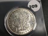 1921-S Morgan silver dollar Unc