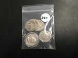 6 silver quarters & 1 1944 Canada qtr Circ
