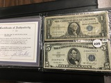 The Blue Seal $1 and $5 Bills Silver Certificate