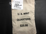 "Bag of $25 Illinois ""P"" State quarters"