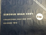 Number two book of Lincoln wheat cents(50) 1941-58 &21 Memorials