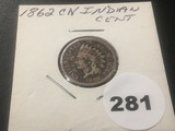 1862 C-N Indian cent