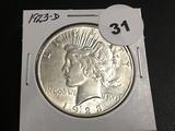 1923-D Peace dollar Unc