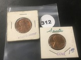 2 Lincoln cent stamped (1) Santa (1) Jimmy Carter