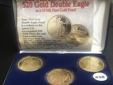 3pc Copies of 1933 Double Eagle 24kt/clad
