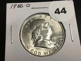 1950-D Franklin half dollar Unc