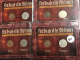 4 sets 1st Decade 20th Century coin collection, 4 Ind heads & 4 VC Nickels