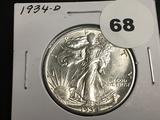 1934-D Walking Liberty half Unc
