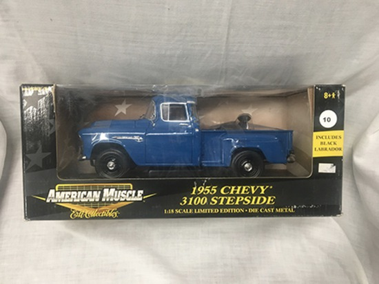 1955 Chevy 3100 Stepside w/black labrador, 1:18 scale, Ertl, American Muscle