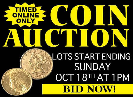 LARGE SILVER & GOLD COIN, CURRENCY AUCTION