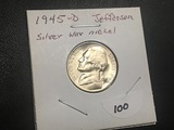 1945D Silver War nickel BU