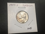 1947 S Jefferson nickel UNC