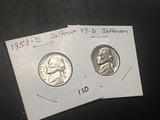 1953 D & 1957 D Jefferson nickel UNC