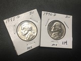1976 D, 1977 D Jefferson nickel UNC