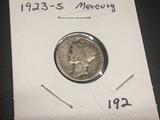 1923 S Mercury Dime