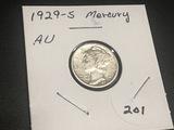 1929 S Mercury Dime AU