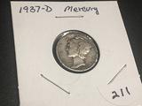 1937 D  Mercury Dime Fine