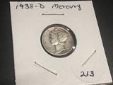 1938 D  Mercury Dime VG