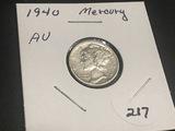 1940  Mercury Dime AU