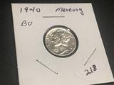 1940  Mercury Dime BU