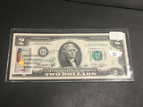 1976 $2 Bill Galesburg Stamped with Stamp UNC