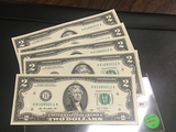 5 consecutive $2 Bills H01685011-015 CRISP