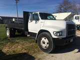 1999 F800 single axle truck, diesel, automatic,, 11R-22.5 tires, 14ft 6inx 8ft steel bed, no hoist,