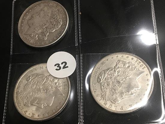 Lot of 3 1921 Morgan Dollars