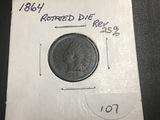 1864 Indian Head  80 Deg Rotated Reverse AU