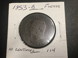 1853 B FRANCE Napoleon III Coin - 10 Centimes