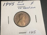 1945 Lincoln Wheat Cent Die Crack On Wheat ear