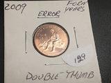 2009 Lincoln Cent Double Thumb (ERROR)