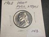 1962 Jefferson Proof Nickel Full Steps