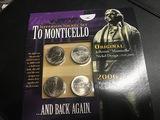 Jefferson Nickel Set Monticello 4 Coin Set UNC