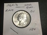 1964-D Washington Quarter RPM UNC