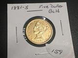 1881-S $5 Gold Liberty BU