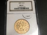 1893 $10 Gold Liberty NGC MS61