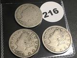 (3) 1883 V-Nickels