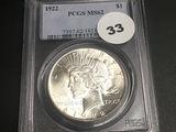 1922 Peace Dollar MS62