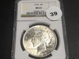1924 Peace Dollar MS62