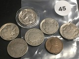 1914-D Lincoln (Hole Rev) and 6 Misc Nickels