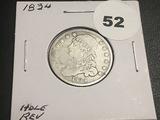 1834 Bust Quarter (Hole Rev)