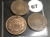 Lot of 3 1865, 66, 67-2 Cents