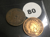 1865, 1885 Indian Cents