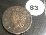 1833 Large Cent (Matron Head)