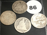 1856, 1877, 1888, 1891 Seated Dimes