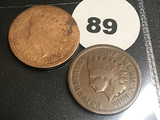 1869, 1870 Indian Cents