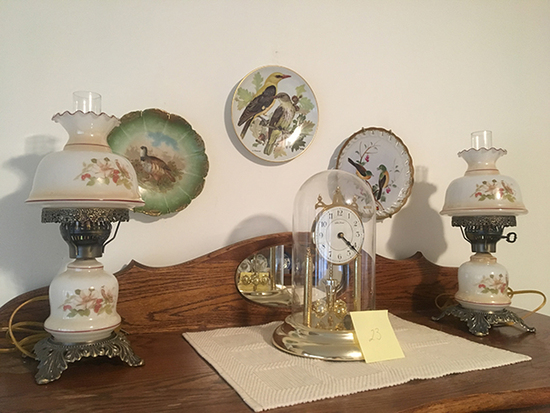 Seth Thomas Anniversary Clock, Lamps and Bird Plates