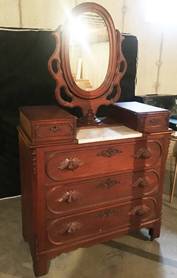 Victorian Dresser, Wishbone Mirror, Fruit Pulls